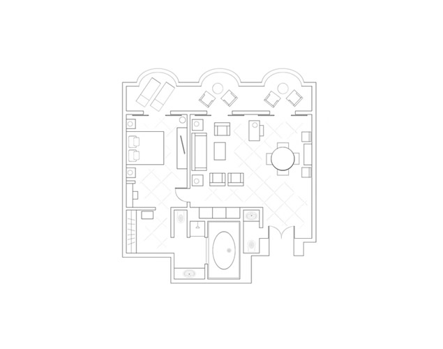 Alecos One Bedroom Suite layout